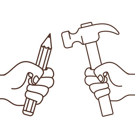 hand with pencil and hammer isolated icon vector illustration design
