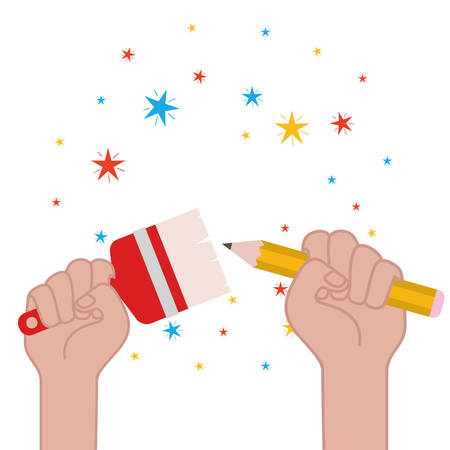 hand with paint brush and paint roller vector illustration design