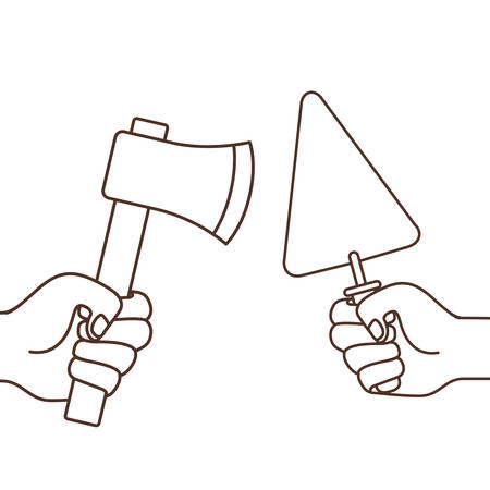 hand with spatula and ax isolated icon vector illustration design