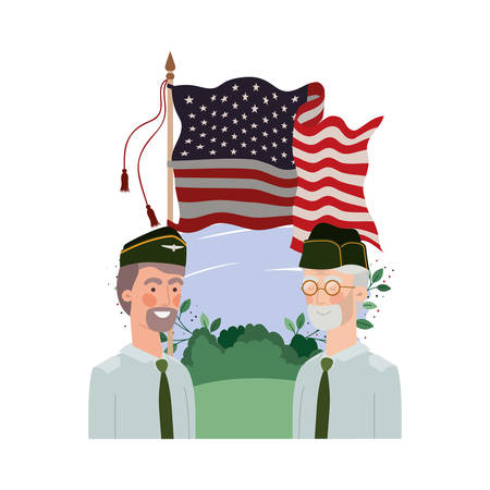 men soldiers of war with landscape and united states flag vector illustration design