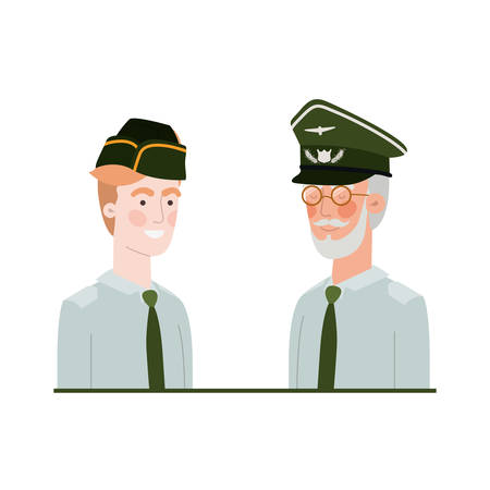 men soldiers of war avatar character vector illustration design