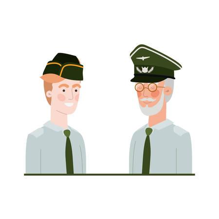 men soldiers of war avatar character vector illustration design