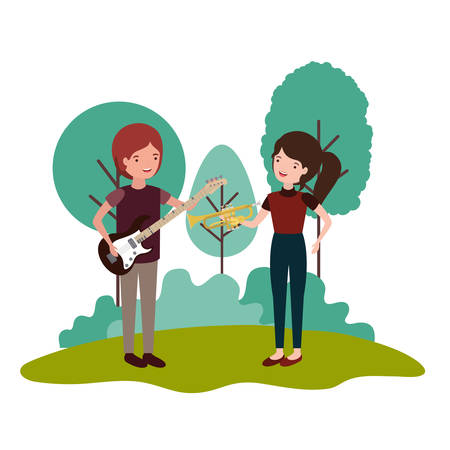couple with musical instruments in landscape vector illustration design 일러스트