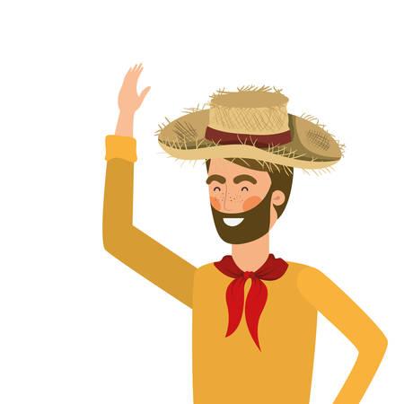 man farmer with straw hat vector illustration design