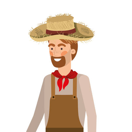 man farmer with straw hat vector illustration design