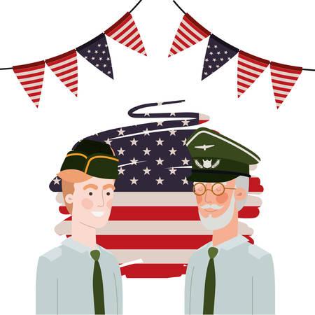 Männer Soldaten des Krieges mit Flagge der Vereinigten Staaten Hintergrundvektorillustrationsdesign