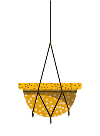 flowerpot on macrame hangers icon vector illustration design Imagens - 122464257