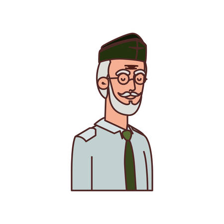 veteran war old man avatar character vector illustration design