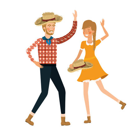 farmers couple dancing with straw hat vector illustration design