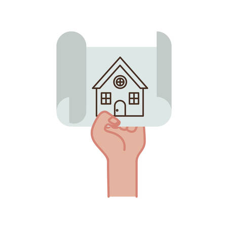 hand with construction plan isolated icon vector illustration design