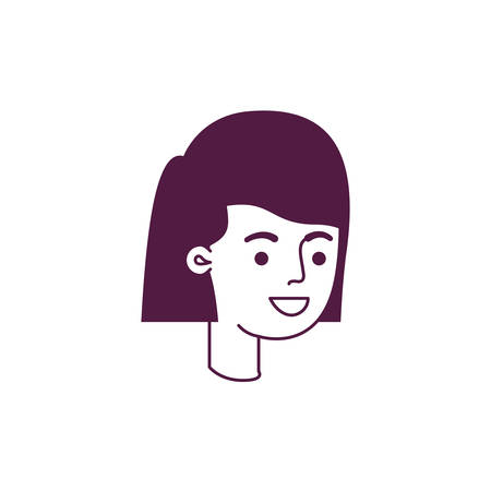 head of woman avatar character vector illustration design