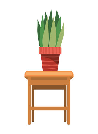 houseplant with potted on the table vector illustration design