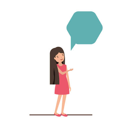 young woman with speech bubble avatar character vector illustration desing