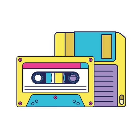 retro floppy disk with cassette vector illustration design Ilustración de vector
