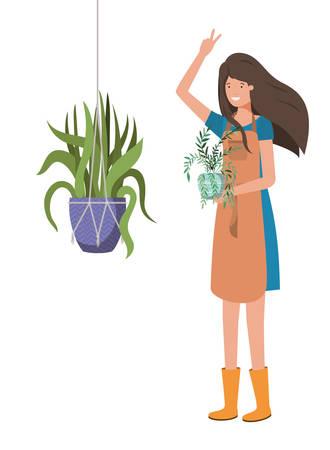 woman with houseplant on macrame hangers vector illustration design