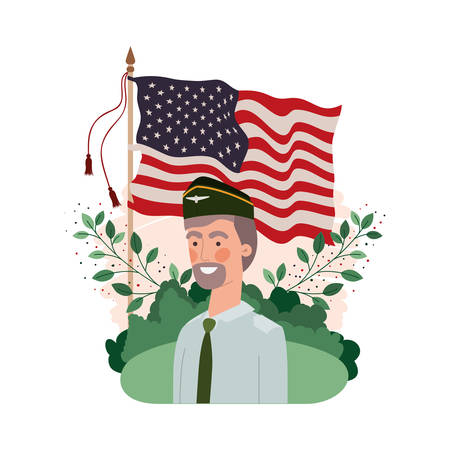 man soldier of war with landscape and united states flag vector illustration design
