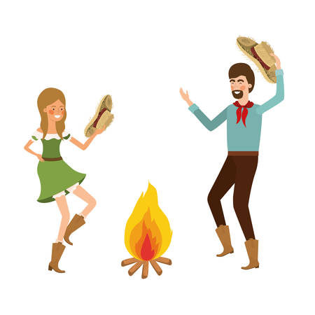 farmers couple dancing with straw hat and bonfire