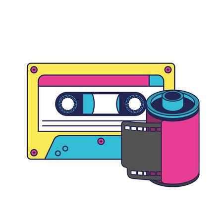 Rouleau rétro photographique et cassette 90 design d'illustration vectorielle icône Vecteurs