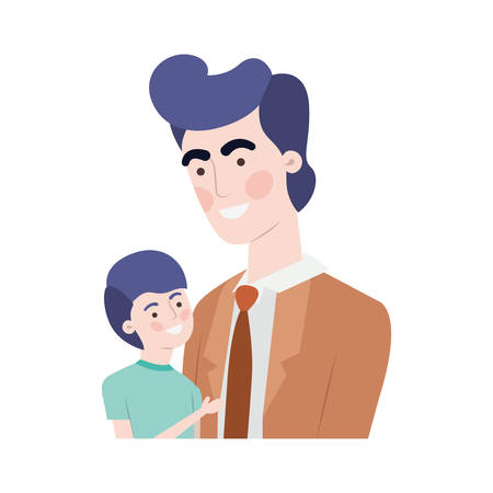 father with son avatar character vector illustration design