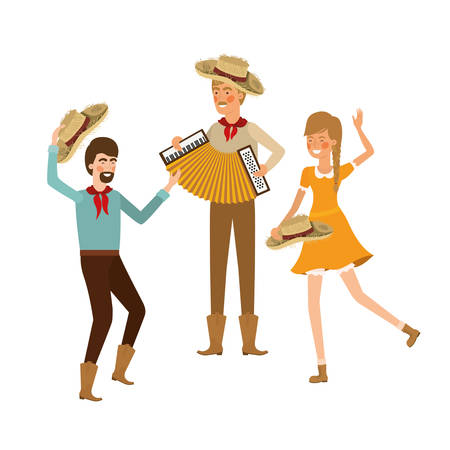 group of people farmers with musical instrument vector illustration design Illustration