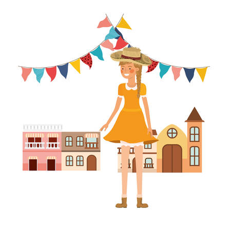 woman farmer with background houses of neighborhood vector illustration design