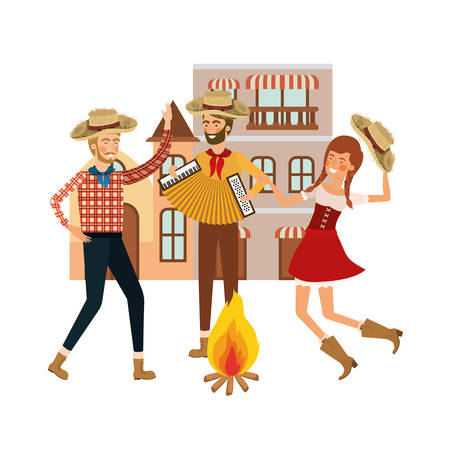 group of people farmers dancing with background houses vector illustration design