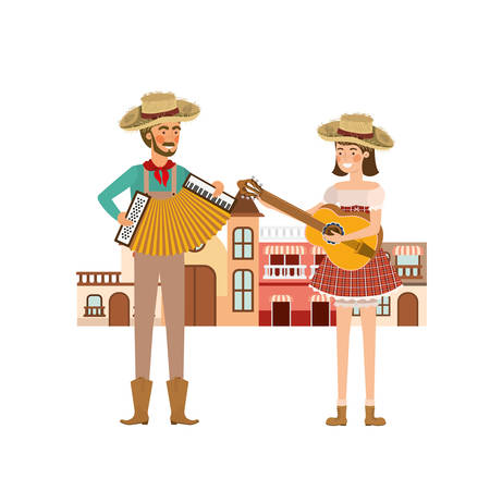 couple farmers with background houses vector illustration design