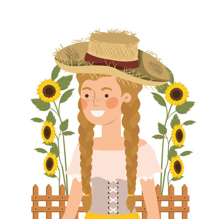 farmer woman with straw hat and sunflowers vector illustration design