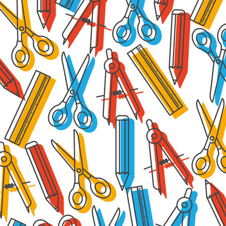 pattern of ruler and scissors tool icon vector illustration design