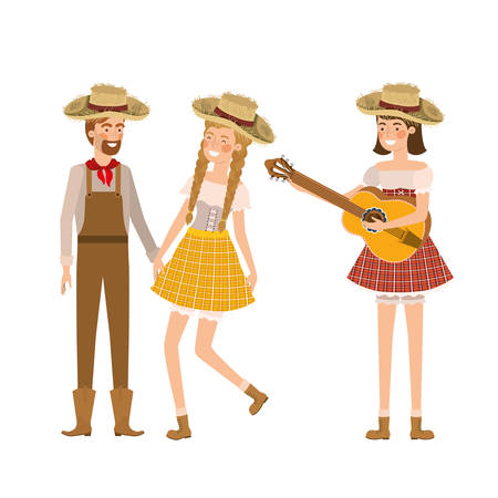 group of people farmers with musical instrument vector illustration design Stock Illustratie