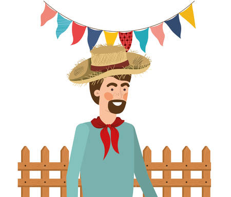 man farmer with straw hat and near background vector illustration design