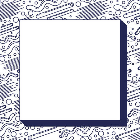monochrome frame with pattern background ninetys style vector illustration design