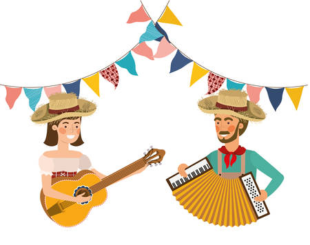 farmers couple with musical instruments vector illustration design Stock Illustratie