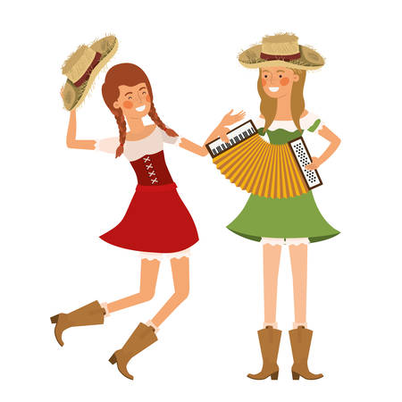 farmers women with musical instruments vector illustration design Stock Illustratie