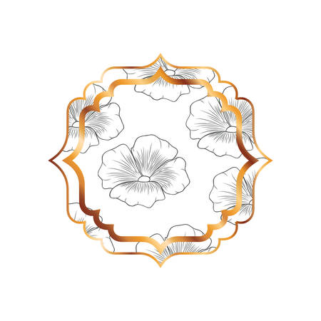 elegant frame with flowers and leafs icon vector illustration design
