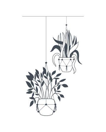 piante d'appartamento su grucce macramè icona illustrazione vettoriale design