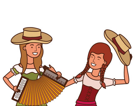 farmers women with musical instrument vector illustration design