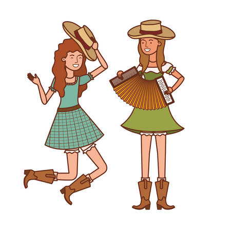 farmers women with musical instruments vector illustration design Illustration