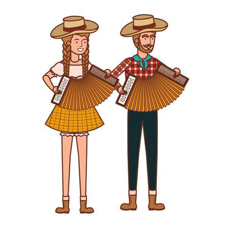 farmers couple with musical instruments vector illustration design Ilustração