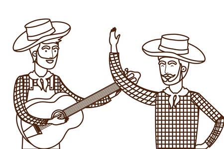 farmers men with musical instrument vector illustration design