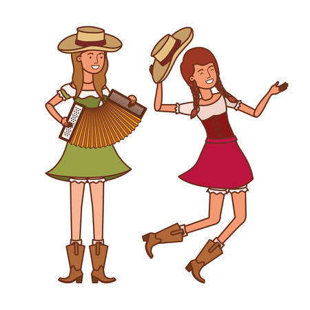 farmers women with musical instruments vector illustration design Ilustração
