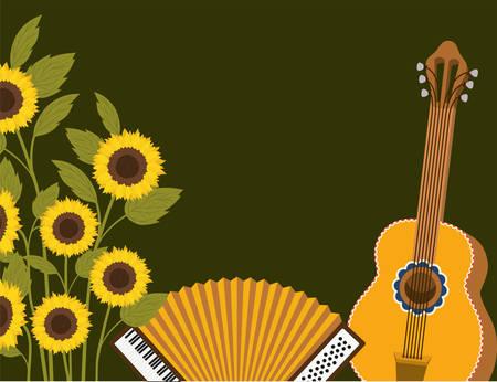 Sonnenblumen mit Musikinstrumentenszenenvektor-Illustrationsdesign Vektorgrafik