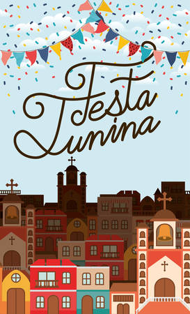 festa junina with village scene and garlands vector illustration design 矢量图像