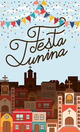 festa junina with village scene and garlands vector illustration design Illustration