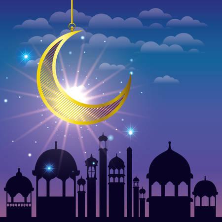 ramadan kareem cityscape with golden moon hanging vector illustration design Stockfoto - 122230380