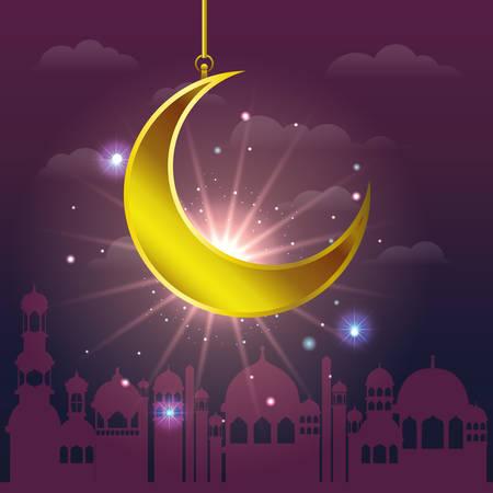 ramadan kareem cityscape with golden moon hanging vector illustration design