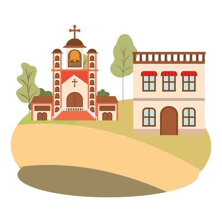 neighborhood houses in landscape isolated icon vector illustration design Illusztráció