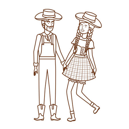 farmers couple dancing with straw hat vector illustration design Ilustracja