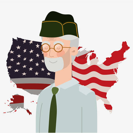 memorial day card with veteran and usa flag in map vector illustration design