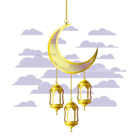 ramadan kareem lantern and moon hanging vector illustration design